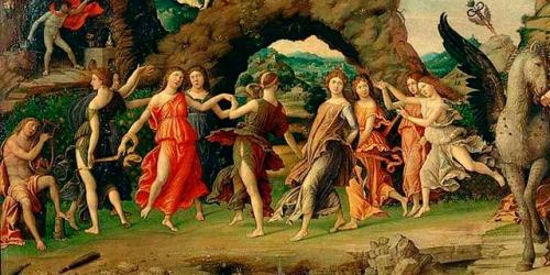Parnaso apollo venere-mercurio e le muse di andrea mantegna.