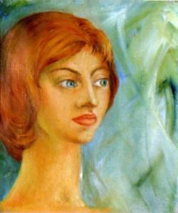ritratto femminile di Giuseppe Pedota anni Settanta