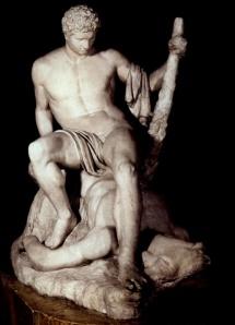 teseo triofante sul minotauro, statua romana