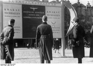 Krakau, Ankündigung einer Kunstausstellung