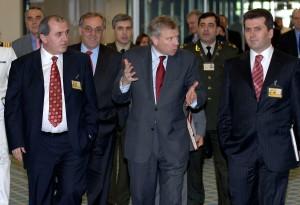 Besnik Mustafaj (Albanian Minister of Foreign Affairs) Fatmir Mediu (Albania Minister of Defence), NATO Secretary General, Jaap de Hoop Scheffer