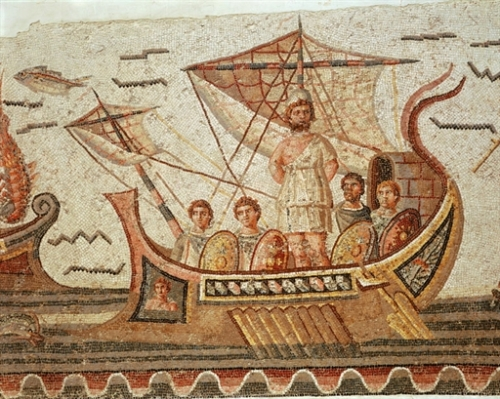 Ulysses and the Sirens, mosaic, 3rd century AD Roman from Dougga/Thugga, Tunisia   Photo Credit: [ The Art Archive / Bardo Museum Tunis