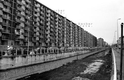 milano il naviglio pavese in secca e palazzi residenziali del quartiere barona alla periferia sud
