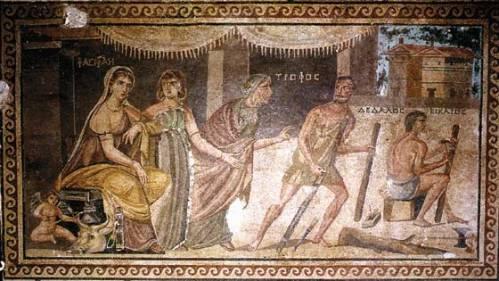 Pasiphae Dedalo e Icaro decorazione parietale a mosaico Zeugma Seleucia II secolo Turchia