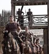 soldati a cavallo sul set