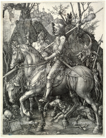 """The Knight, the death and the devil"", B 98. Engraving by Albrecht Dürer. Musée des Beaux-Art de la Ville de Paris."