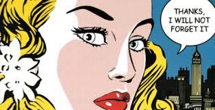 Lichtenstein-Quadro-stampa-su-tela-Telaio-50x100-vernice-effetto-pennellate