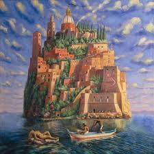 Sergio Michilini, L'ISOLA DEI VIVI, 1995, olio su tela