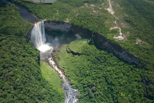 Aerial, Forest Canopy, Kaieteur Falls, Potaro River, River, Save Your World, Landscape, Guyana, September 2007, Freshwater; GUYANA; South America; Water; fresh water; horizontal; landscape; waterfall; waterfalls; © CI/