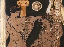 Cratere a colonnette apulo a figure rosse (particolare) Amazzone Pittore di Ariadne, 400-380 a.C.