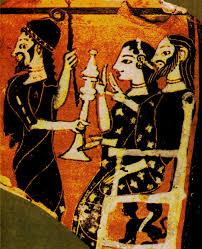 Priamo ed Ecuba, seduti sul trono, ricevono la triste notizia della morte del loro figlio
