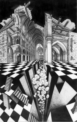 Le Trou Noir, lithographie et dessin (1992) de Jean-Pierre Luminet