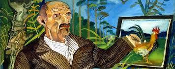 pittura Antonio Ligabue Ritorno ai campi con castello, 1950-1955, olio su faesite