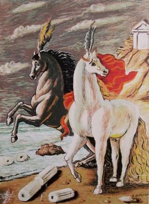 giorgio de chirico I cavalli di Diomede serigrafia