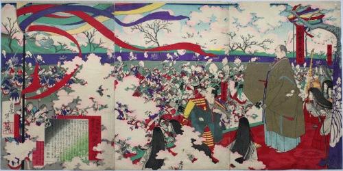 Toshinobu Yamazaki ( 1866 - 1903 ) La festa di fiori di ciliegio di Hideyoshi, a Daigo