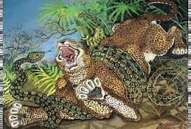 pittura Antonio Ligabue Leopardo assalito da un serpente, circa 1955-1956 olio su faesite, cm 69,5×98