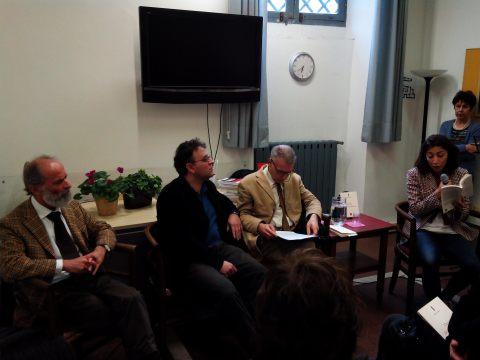 da sx Gezim Hajdari Marco Onofrio Giorgio Linguaglossa Roma presentazione del libro