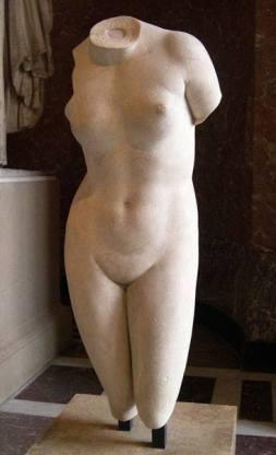 Afrodite Cnidia (copia ellenistico-romana da un originale di Prassitele, 360 a.C.).