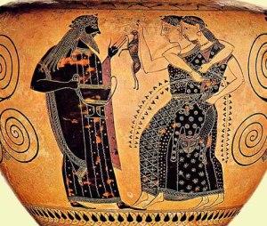 Il dio Dioniso, figlio di Zeus e di Semele, giunge in forma umana a Tebe, patria della madre