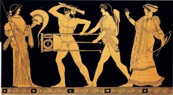 La contesa per il tripode tra Apollo ed Eracle in una tavola tratta dall'opera Choix des vases peintes du Musée d'antiquités de Leide. 1854. Parigi, Bibliothèque des Arts Décoratifs