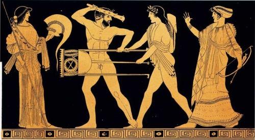 grecia La contesa per il tripode tra Apollo ed Eracle in una tavola tratta dall'opera Choix des vases peintes du Musée d'antiquités de Leide. 1854. Parigi, Bibliothèque des Arts Décoratifs