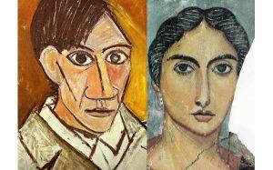 Fayum portrait compared with Picasso's self-portrait