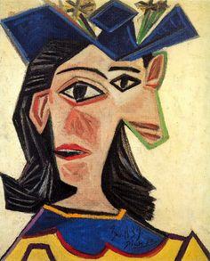 pittura Picasso Buste de femme au chapeau (Dora Maar) 1939