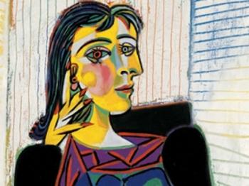 Picasso. Ritratto di Dora Maar o Dora Maar seduta, olio su tela, cm. 92 x 65 particolare