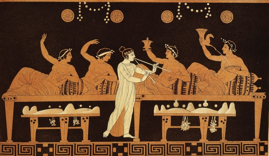 grecia scena di un banchetto