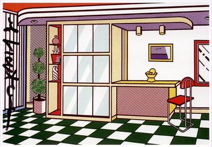roy lichtenstein interior with Built in Bar