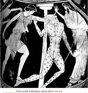 teseo Teseo uccide il Minotauro (vaso con figure rosse, inizio V secolo)