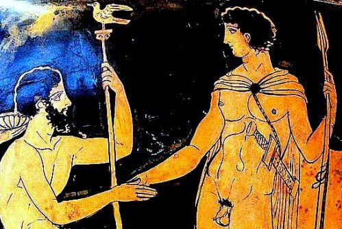 Teseo, venuto da Trezene, incontra Egeo ad Atene (cratere attico a figure rosse), dett_