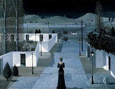 pittura Paul Delvaux, Landscape with Lanterns, 1958