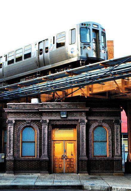 pittura Old Chicago Avenue Station Entrance by Jim Watkins