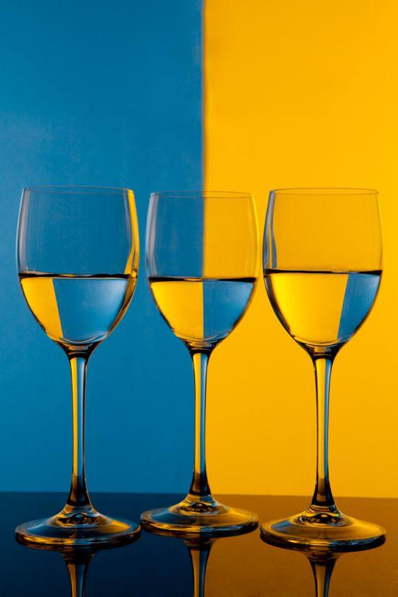 Foto tre bicchieri bicolore