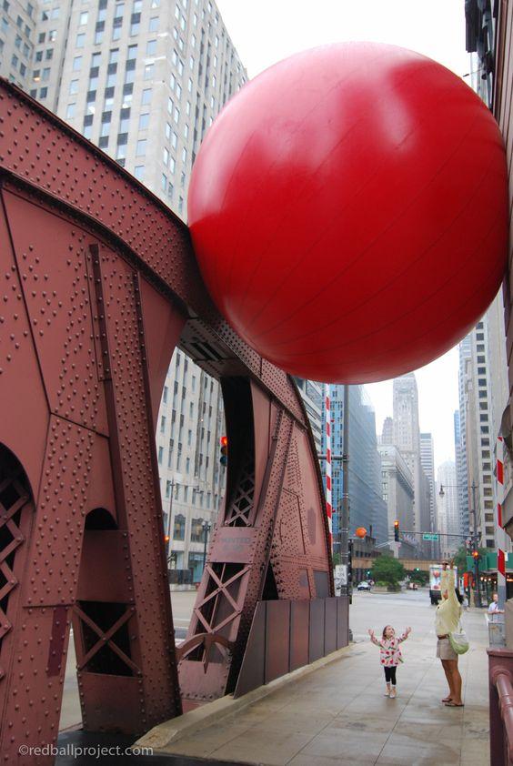 RedBall Chicago at La Salle Bridge, overhead.