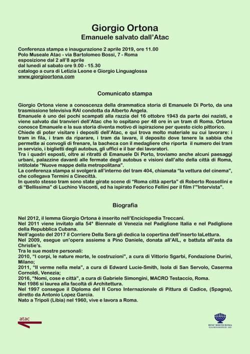 Comunicato stampa Mostra Giorgio Ortona
