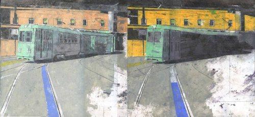 Giorgio Ortona Atac, 2019, olio su tela, 30 x 64 cm
