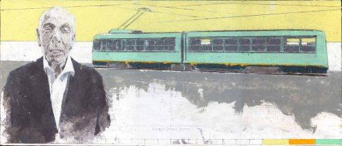 Giorgio Ortona Emanuele salvato dall'Atac, 2018, olio su tavola, 22 x 52 cm
