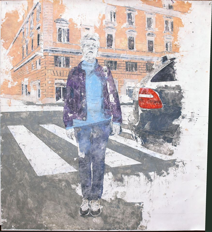 Giorgio Ortona Arancione, indaco e celeste, 2020, olio su tela, 63,4 x 59,4 cm
