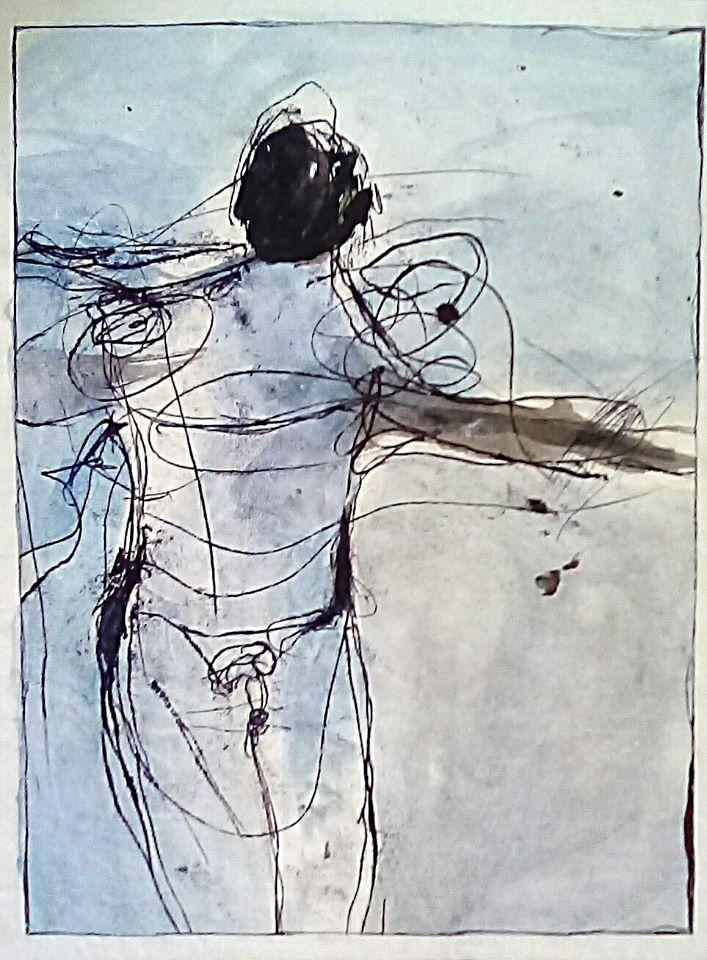 Francesca Dono homo sapiens 26x34 su carta lavata Olio e acrilico, 2020