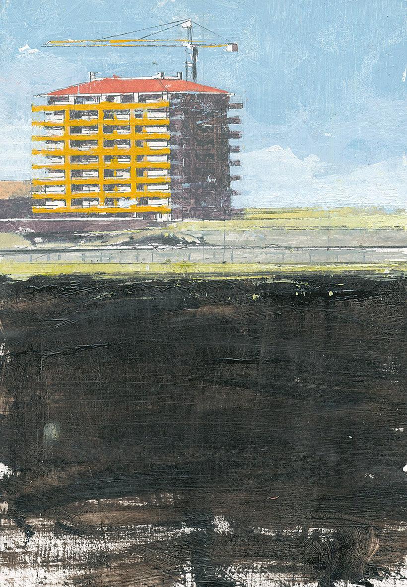 Giorgio Ortona Palazzina sulla Colombo, 1997 olio su tavola 20x14 cm
