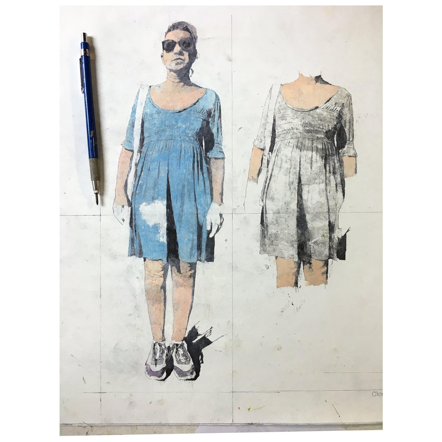 Giorgio Ortona Letizia celestina 42 x 70 olio su tela 2020