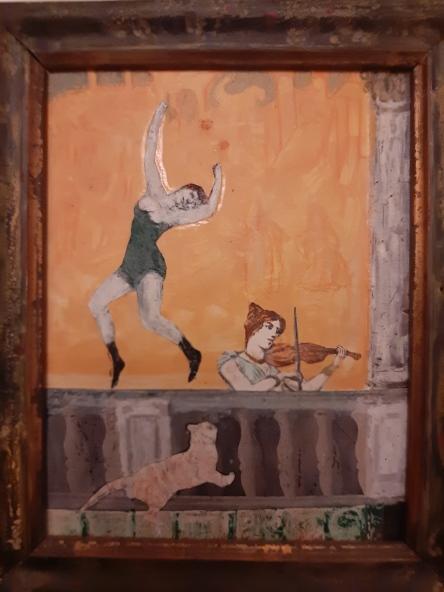 Piero Tevini, collage e acrilico 12x18 cm, 2012