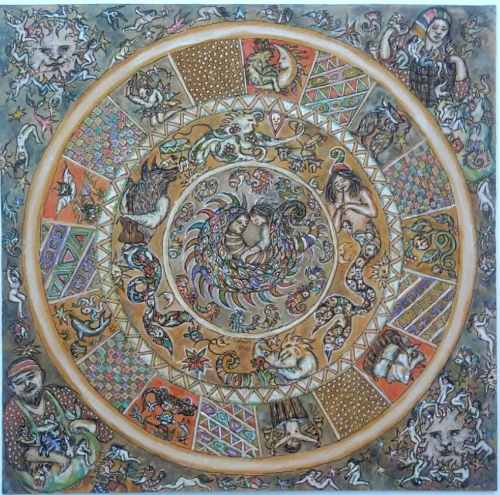 Isabella Collodi mandala del virus china acquerello 40x40