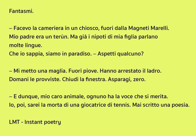 Instant poetry Lucio Mayoor Tosi