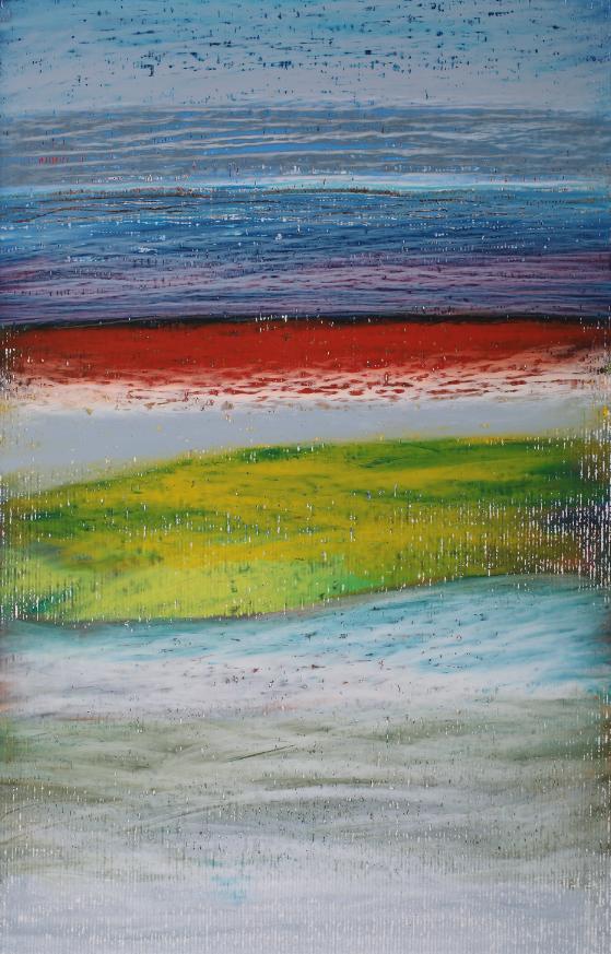 Jacopo Ricciardi, Io=orizzonte 3 (piccolo), pastelli a cera su carta, 33x21 cm, 2014